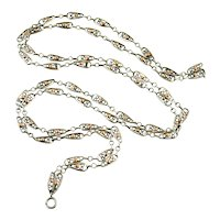 French antique silver and rose gold long guard chain