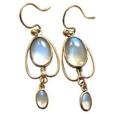 Art nouveau Ceylon blue moonstone earrings