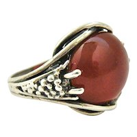 French art nouveau sterling carnelian ring