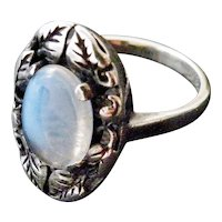 Arts and crafts Ceylon moonstone ring sterling silver