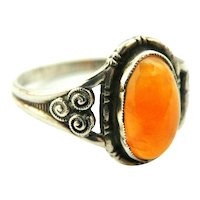 Arts and Crafts carnelian sterling silver ring