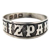Victorian sterling silver MIZPAH ring 1888
