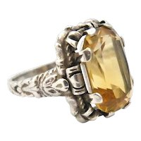 Antique continental sterling silver citrine cocktail ring