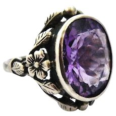 Sterling silver amethyst arts and crafts floral ring.