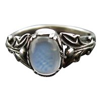 Ceylon blue moonstone ring in sterling silver