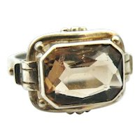 1920s art deco German 835 silver smoky quartz tank ring