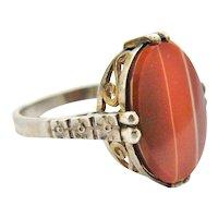 Art deco German 835 silver banded carnelian ring