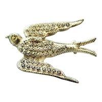 Victorian sterling silver swallow brooch