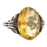 Art deco sterling silver citrine ring
