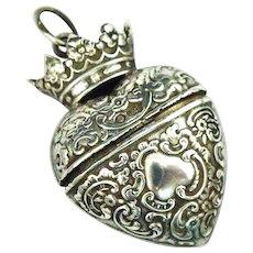 Fabulous sterling silver crowned heart vinaigrette locket pendant, Hanau