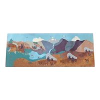 Vintage Leather Art from 1960 ~ Panoramic Western Scene
