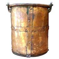 19th Century Copper Firewood Bucket/Cauldron