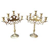 Jewish Brass Five-Branch Menorah Candle Holder