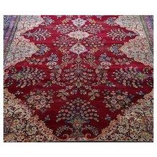 Antique Handmade Persian Kerman Area Rug