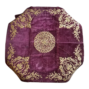Antique Turkish Ottoman Hand Embroidery on Velvet Bohça