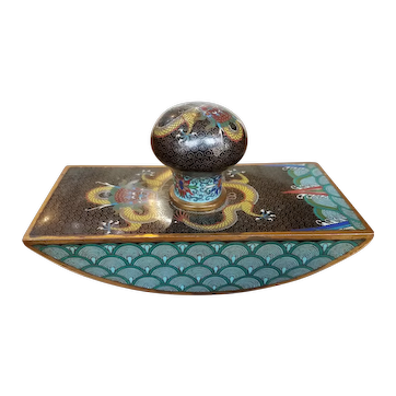 Antique Chinese Ink Blotter Cloisonne