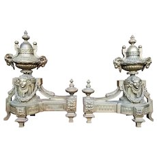 Antique 19th-Century French Bronze Neoclassical Andirons