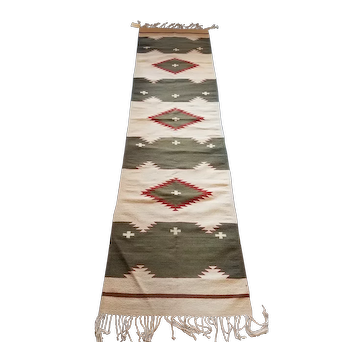 Vintage Handmade Zapotec Runner Rug