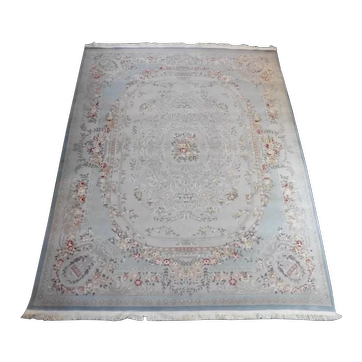Vintage French Aubusson Oriental Hand-Knotted Wool Area Rug