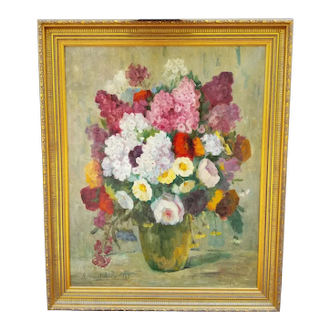 19th-Century Oil Painting of Flower Bouquet