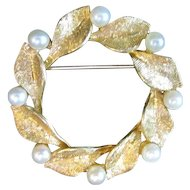 14K Gold Leaf and Seed Pearl Pin