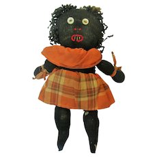 Folk Art Antique Black African American Doll ~ Stockinette ~ Handmade
