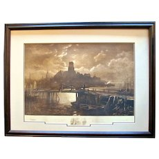 """Original Signed Etching ~ 1887 ~ George McCord & John Henry Hill with Longfellow's Poem """"The Bridge"""""""