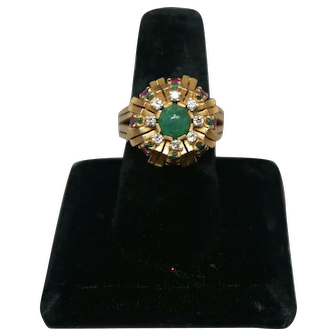 Beautiful Mid Century 18K Gold Cocktail Ring