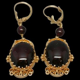 Elegant 14k Gold Cabochon Garnet Earrings
