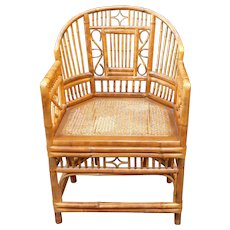 Vintage 1970s Brighton Style Bamboo Cane Arm Chair