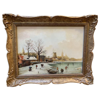 "Shirley Anne Webb ""Dutch Frozen River"" Oil Painting"