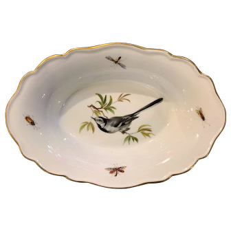 Meissen Porcelain Bird and Insect Oval Dish