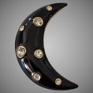 Signed Christian Dior Enamel Crescent Moon Brooch