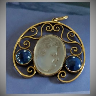 14k Carved Cherub Moonstone and Sapphire Pendant