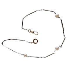 Platinum 14k Pearl Watch Chain