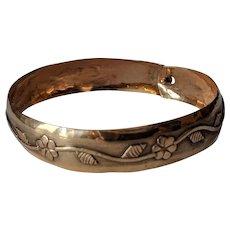 Old 14k Floral Applique Bracelet