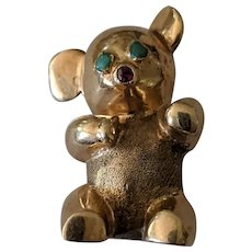 Heavy 14k Bear Pin with Persian Turquoise Eyes & Ruby Nose