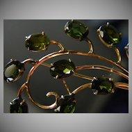 18k Rose Gold Green Tourmaline Brooch