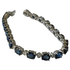 18k 14ctw Sapphire & Diamond Bracelet