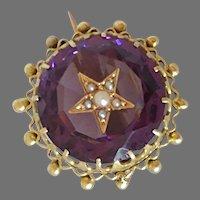14k Carved Amethyst Star Brooch
