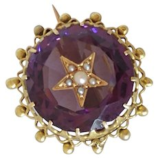 14k Carved Amethyst Star Brooch