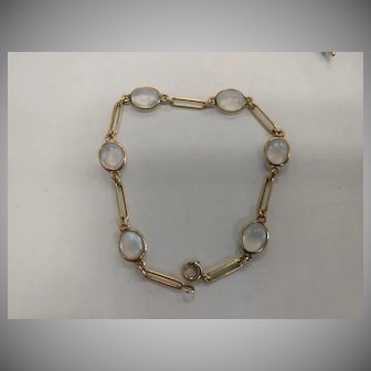 14k Blue Flash Moonstone Bracelet