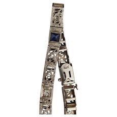 Deco 18k Diamond Sapphire Bracelet