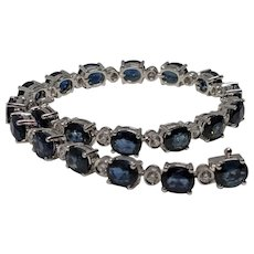 Gorgeous 18k 15-16ctw Sapphire Diamond Bracelet