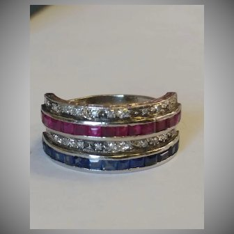 Heavy Etched Platinum Diamond, Ruby, and Sapphire Ring