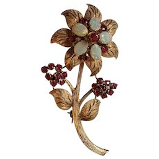 Large Vintage 14k Ruby and Opal Flower Pin