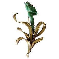 Mid century 18k Carved Jadeite Bird of Paradise Brooch