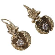 Stunning Diamond Etruscan Dangle Earrings