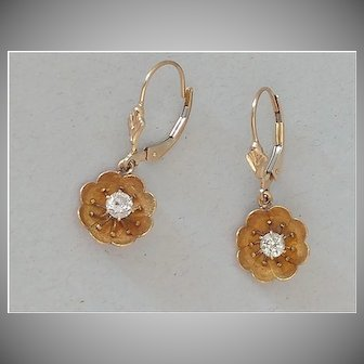 14k Diamond Flower Earrings