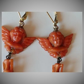 Antique 14k Carved Coral Cherub and Urn Earrings